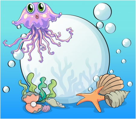 Illustration of a big pearl and the violet octopus under the sea Vector