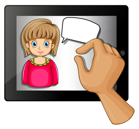 businessowman: Illustration of a gadget with an image of a girl with an empty callout on a white background