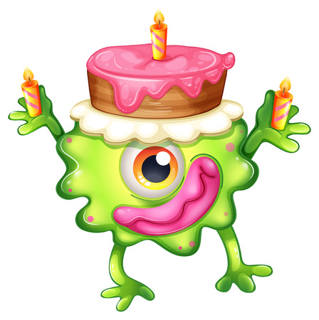 cartoon birthday cake: Illustration of a birthday of a green monster on a white background