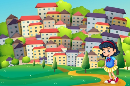 Illustration of a young girl walking at the hilltop across the tall buildings Vector