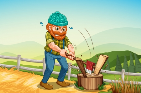 tiresome: Illustration of a man chopping the log above the stump Illustration