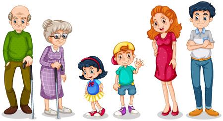 eltern und kind: Illustration einer gl�cklichen Familie mit ihren Gro�eltern auf einem wei�en Hintergrund