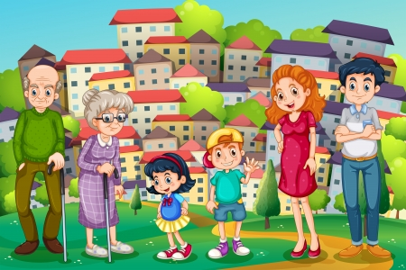 Illustration of a family at the hilltop across the neighborhood Vector