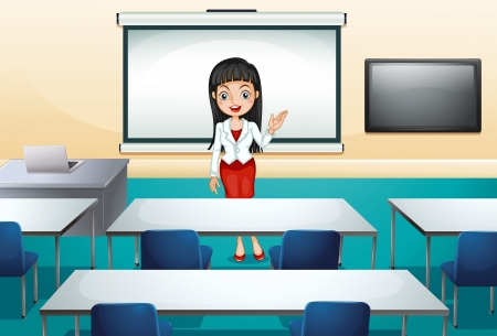 Illustration of a girl in a conference room Stock Vector - 22575731