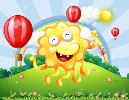 rejoicing: Illustrazione di un mostro giallo felice in collina con un arcobaleno e palloncini galleggianti Vettoriali