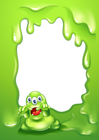 dreadful: Illustration of a green border design with a scary green monster