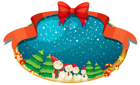 Illustration of a christmas decor with four snowmen on a white background Vector