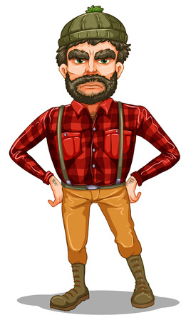 Illustration of a scary lumberjack standing on a white background Vector