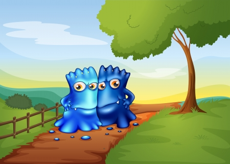 hillside: Illustration of the two bestfriend monsters going to the farm