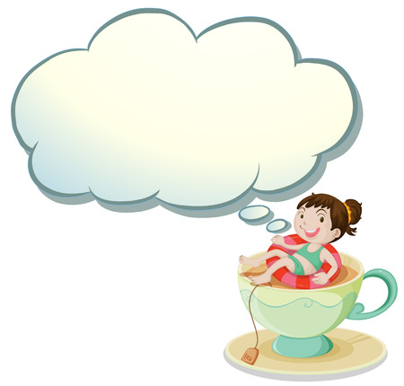 thinking bubble: Illustration of a happy girl swimming above the cup with an empty cloud template on a white background Illustration