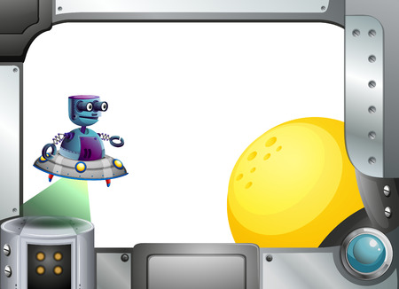 programmed: Illustration of a metallic frame with a robot and a sun
