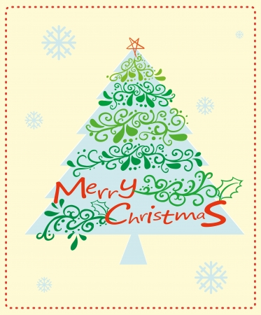 Illustration of a christmas card with a christmas tree Stock Vector - 22575450