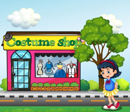 Illustration of a small girl across the costume shop Vector