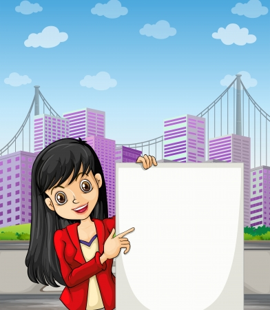 Illustration of a beautiful girl with an empty signage standing at the pedestrian lane Vector
