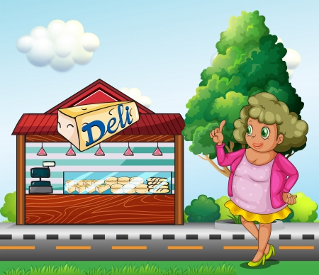 deli: Illustration of a fat lady in front of the deli store