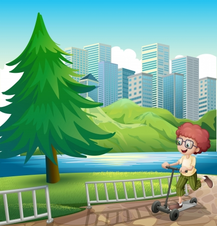 establishments: Illustration of a happy young boy playing with his scooter near the river