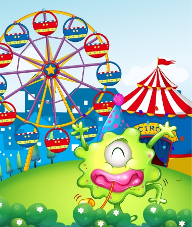 Illustration of a carnival at the hilltop at the back of the green monster