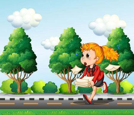 tardiness: Illustration of a girl running hurriedly while carrying a pile of papers