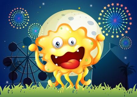 Illustration of an orange monster at the carnival Vector