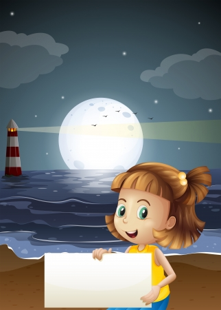 parola: Illustration of a cute little girl holding an empty signboard at the beach