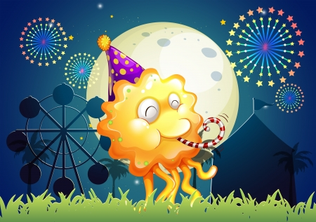 Illustration of a monster with a hat standing in front of the carnival Vector