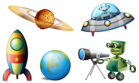 Illustration of the spaceships and robots on a white background Vector