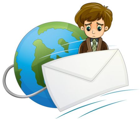Illustration of a sad man in the middle of the envelope and the globe on a white background Vector
