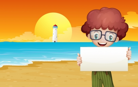 beach boy: Illustration of a boy at the beach holding an empty signage