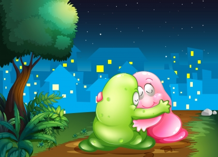 bestfriend: Illustration of a pink and a green couple monsters hugging each other at the pathway