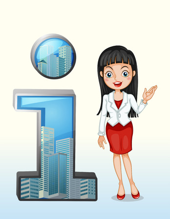 Illustration of a number one symbol beside a pretty businesswoman on a white background Vector