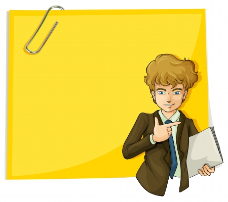 handsome: Illustration of a boy in front of the big empty paper with a clip on a white background
