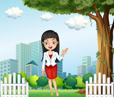 Illustration of a pretty lady standing near the tree across the buildings Vector