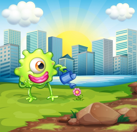 establishments: Illustration of a monster watering the plant at the riverbank across the buildings
