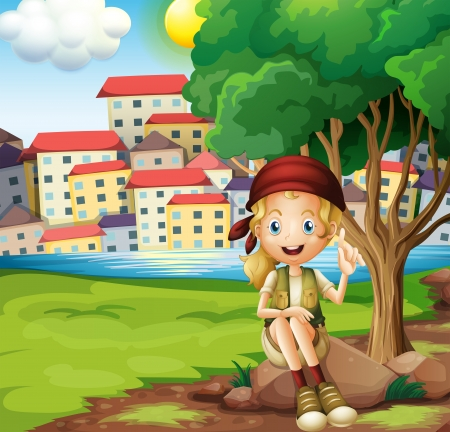 Illustration of a girl sitting above the rock under the tree Illustration