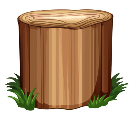 timber cutting: Illustration of a stump with weeds on a white background