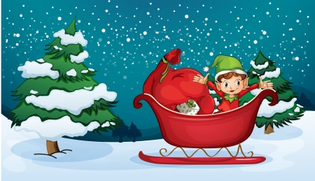 Illustration of an elf riding on a sleigh with a sack of gifts Vector