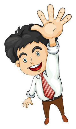 five people: Illustration of a businessman waving on a white background