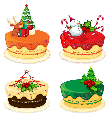 Illustration of the four cake designs for christmas on a white background Vector