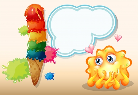 inlove: Illustration of a super in-love monster near the giant icecream
