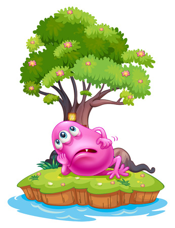 Illustration of a pink beanie monster resting under the tree house in the island on a white background Vector