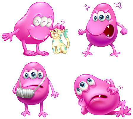beanie: Illustration of the four beanie monsters on a white background Illustration