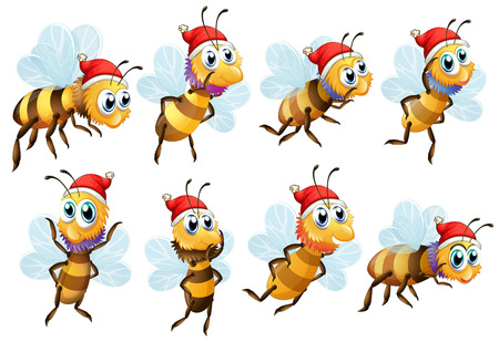 Illustration of the Santa bees on a white background Vector