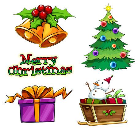 Illustratie van een groep van kerst decors op een witte achtergrond Stock Illustratie