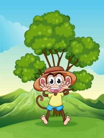 hilltop: Illustration of a playful monkey at the hilltop near the tree