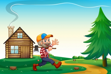 barnhouse: Illustration of a happy lumberjack carrying an axe while walking near the wooden house Illustration