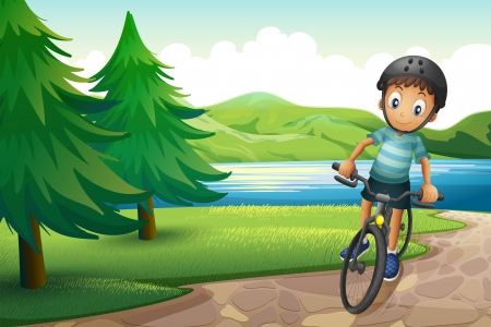 Illustration of a boy biking near the pine trees at the riverside Vector