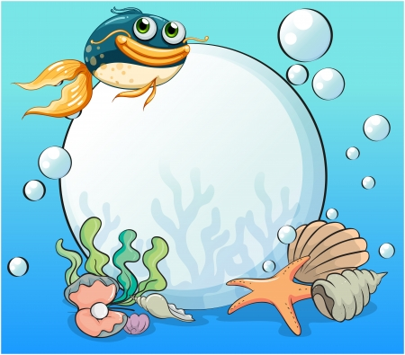 Illustration of an ocean with many aquatic creatures Vector