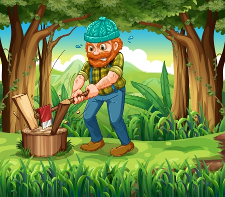 hardworking: Illustration of a hardworking woodman at the forest