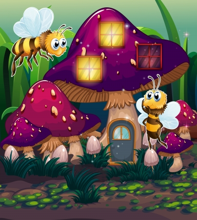 Illustration of the dragonflies near the enchanted mushroom house on a white background Vector