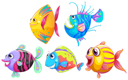prey: Illustration of a group of smiling fishes on a white background
